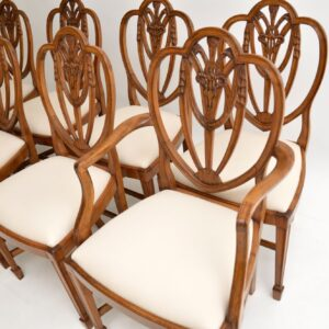 set of 8 antique mahogany shield back dining chairs