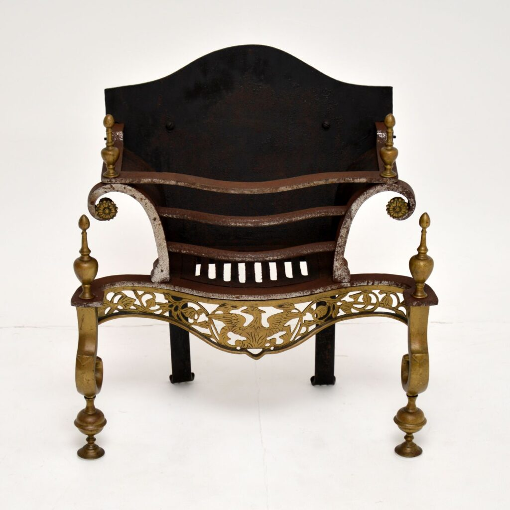 antique victorian art deco fireplace basket grill