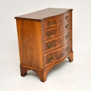 antique figured walnut serpentine chest of drawers