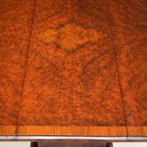 antique burr walnut drop leaf dining table