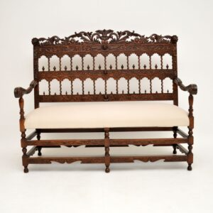 antique carved mahogany bench sofa settee