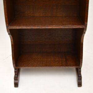 antique edwardian oak arts and crafts art nouveau open bookcase stand trough