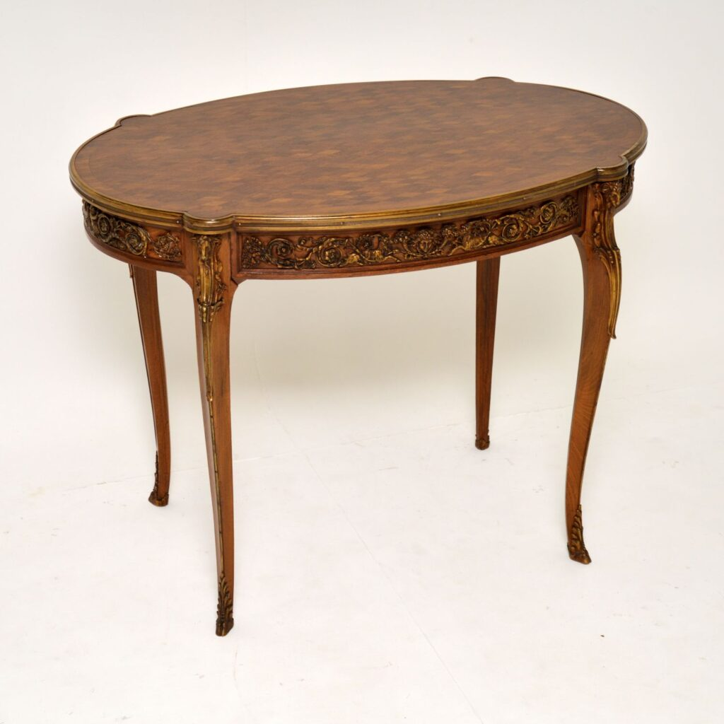 antique french ormolu mounted parquetry top desk writing table bureau plat