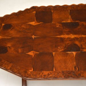 antique regency oyster yew wood veneer coffee table