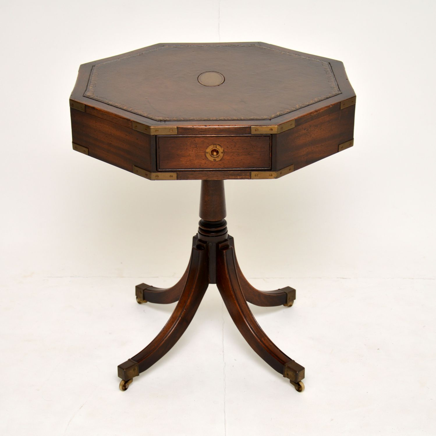 antique mahogany leather military campaign drum table