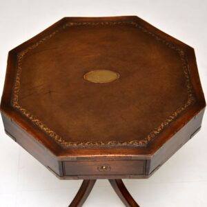 Antique Military Campaign Style Mahogany Leather Top Drum Table