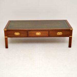 antique mahogany brass leather military campaign coffee table