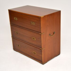 antique mahogany brass military campaign chest of drawers