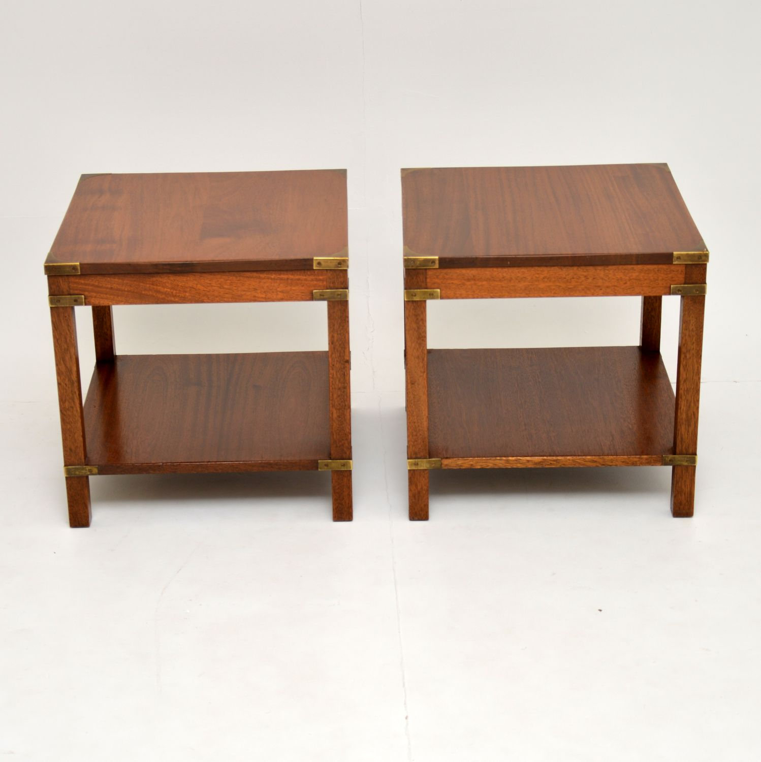 Antique Military Campaign Style Mahogany Coffee Table Side Tables Nest Marylebone Antiques