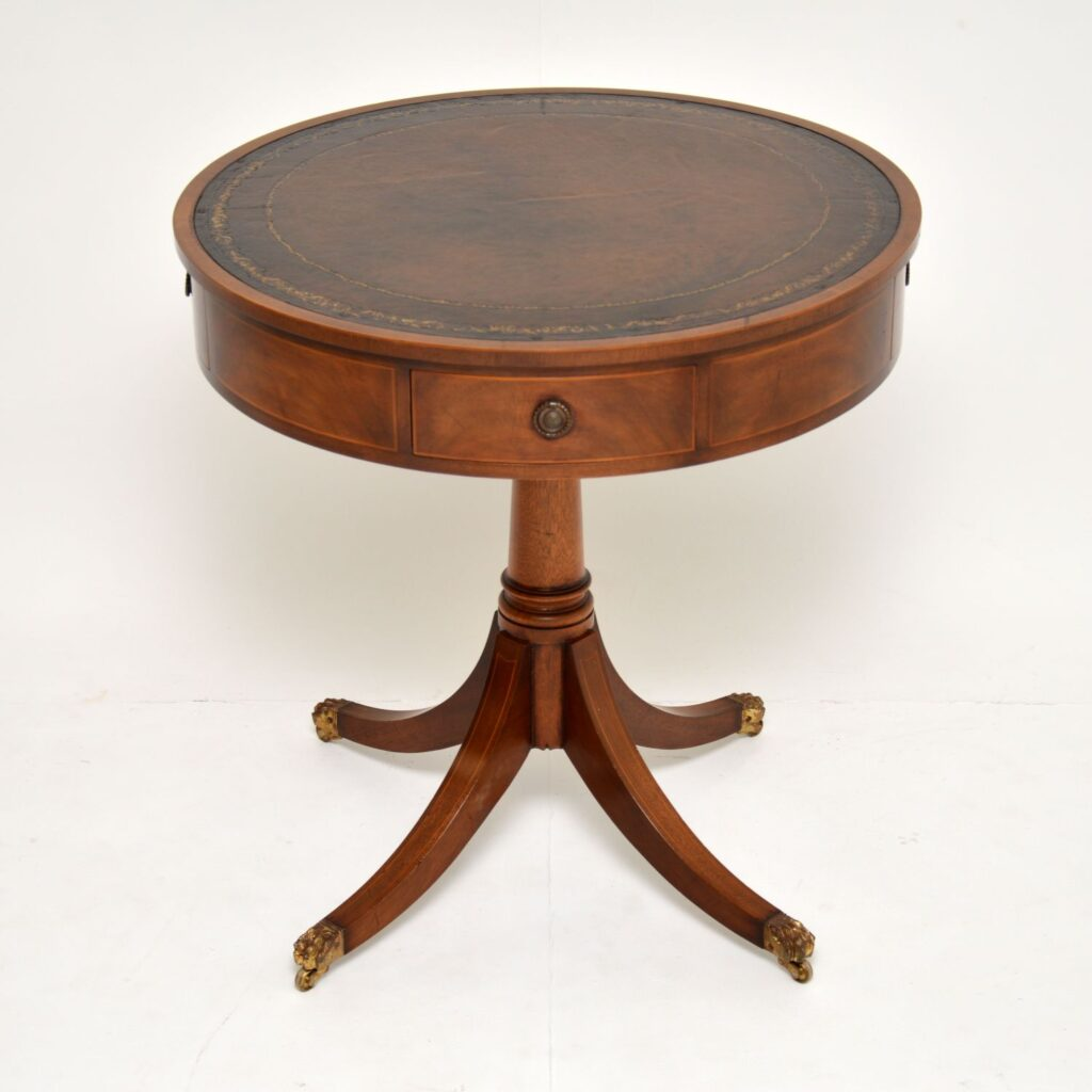 antique mahogany leather regency drum table