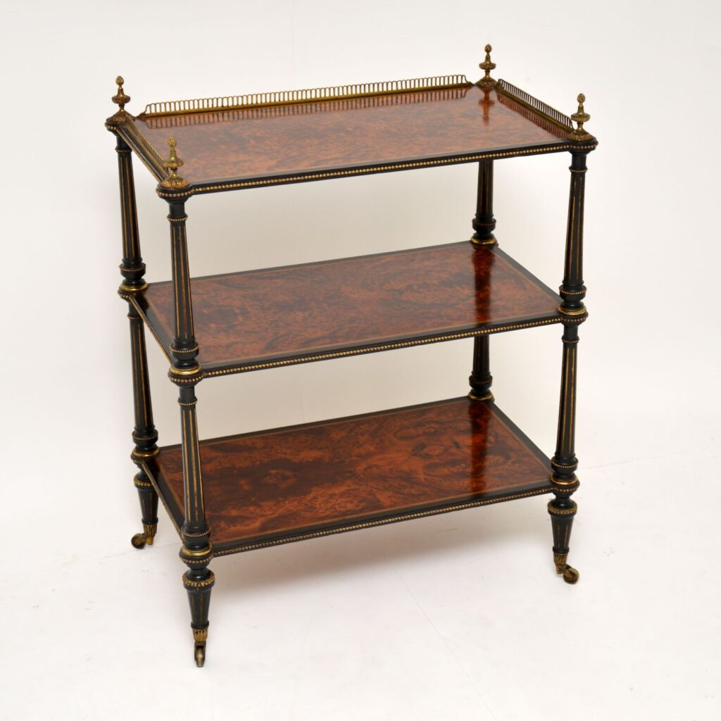 antique french amboyna walnut ebony etagere