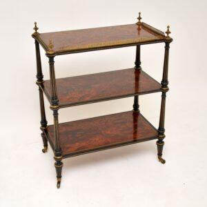 Antique Amboyna & Ebony Etagere Side Table