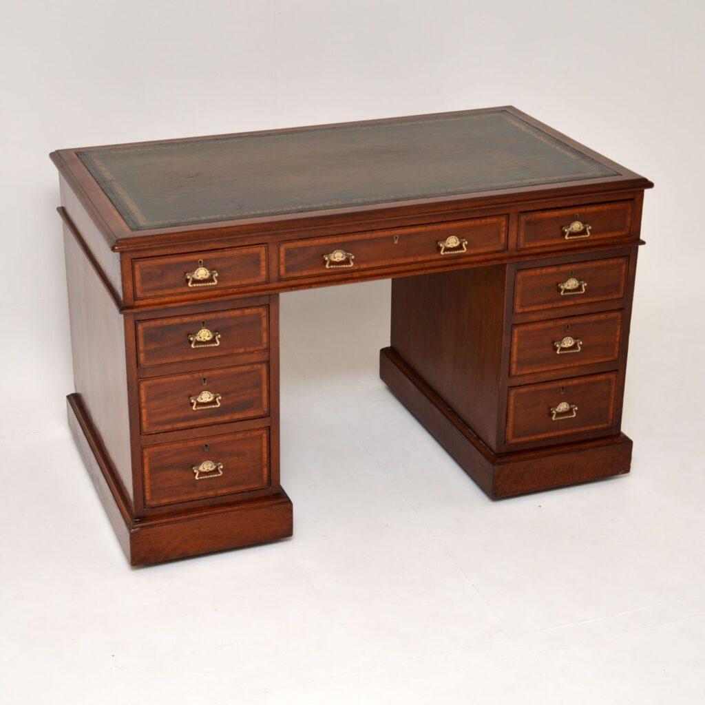 antique victorian inlaid mahogany leather pedestal desk
