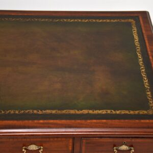 antique victorian inlaid mahogany leather pedestal desk