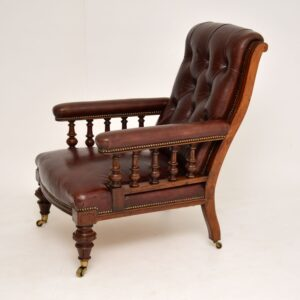 antique victorian leather mahogany smokers library armchair