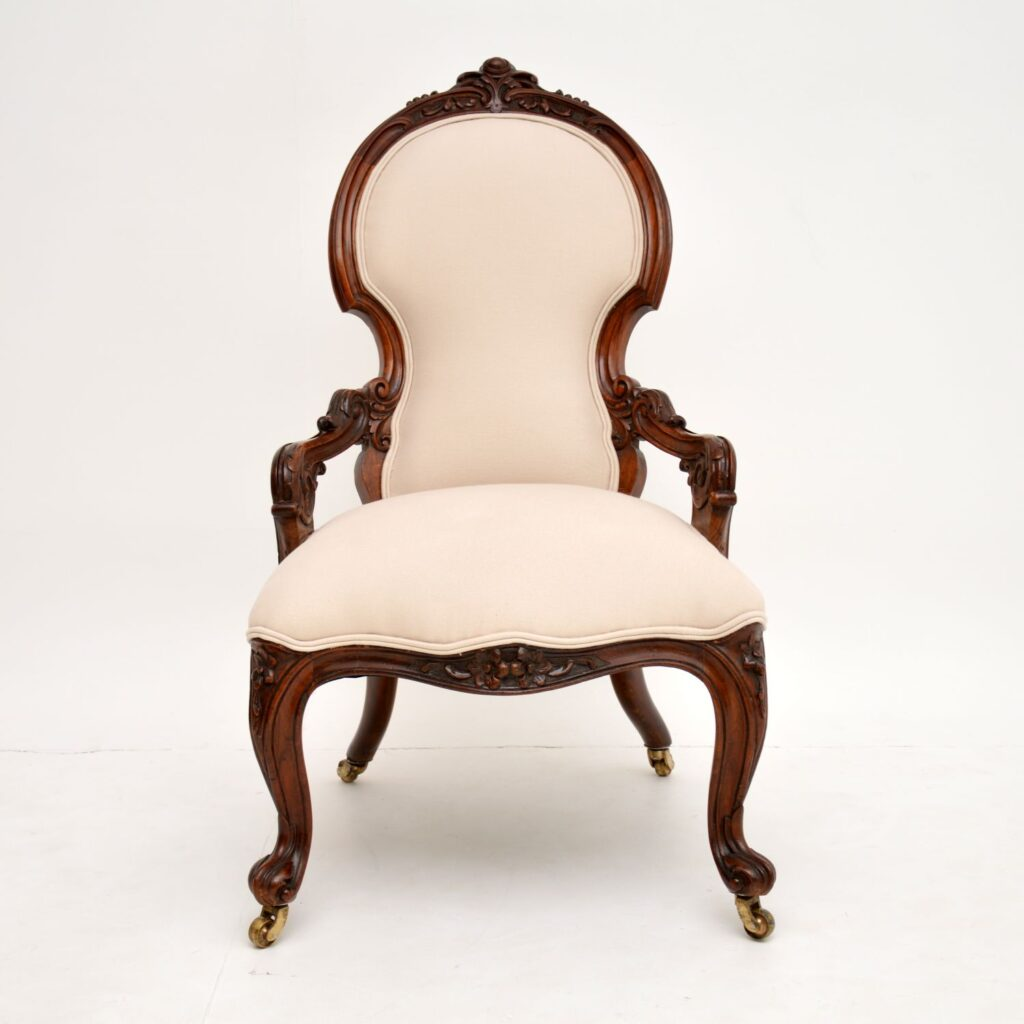 antique victorian walnut nursing chair armchair