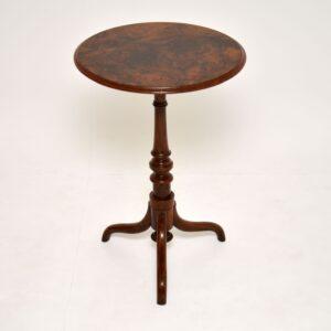 antique victorian burr walnut tripod occasional table