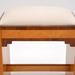art deco burr maple walnut stool