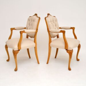 pair antique french walnut salon armchairs