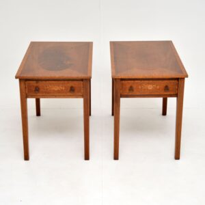 pair of antique inlaid mahogany side lamp end tables