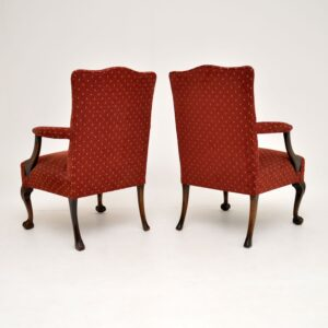 pair of antique mahogany chippendale armchairs