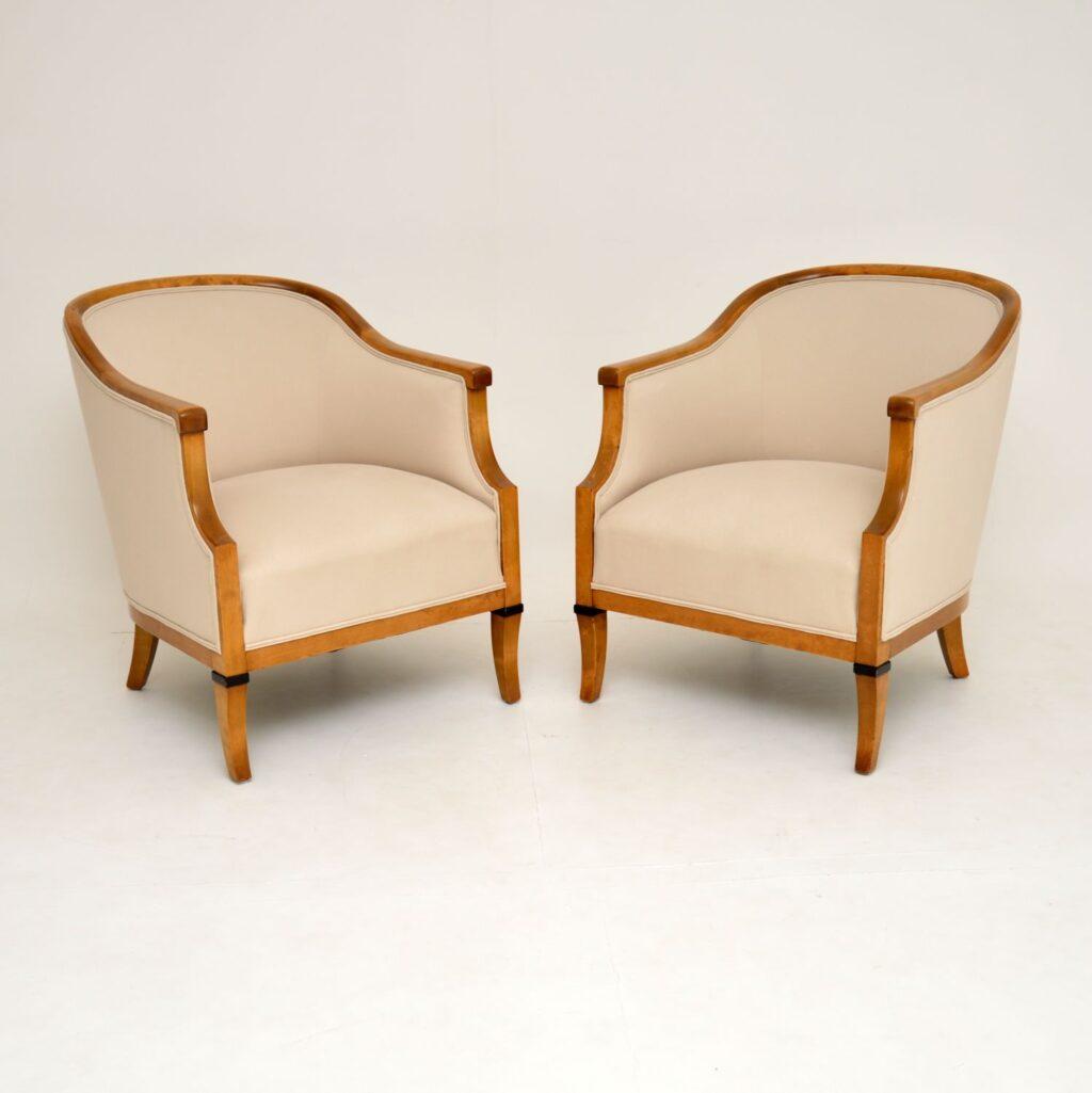 pair of antique swedish satin birch biedermeier armchairs