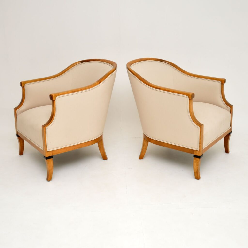 pair of antique swedish satin birch biedermeier armchairs