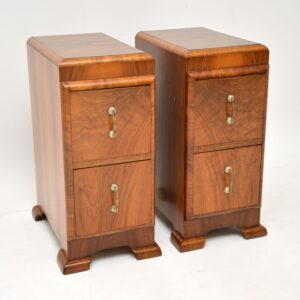 pair of art deco figured walnut bedside chests cabinets