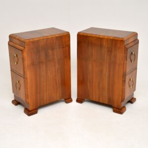 Pair of Art Deco Figured Walnut Bedside Chests