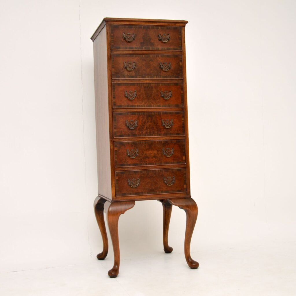 antique burr walnut tall boy chest of drawers