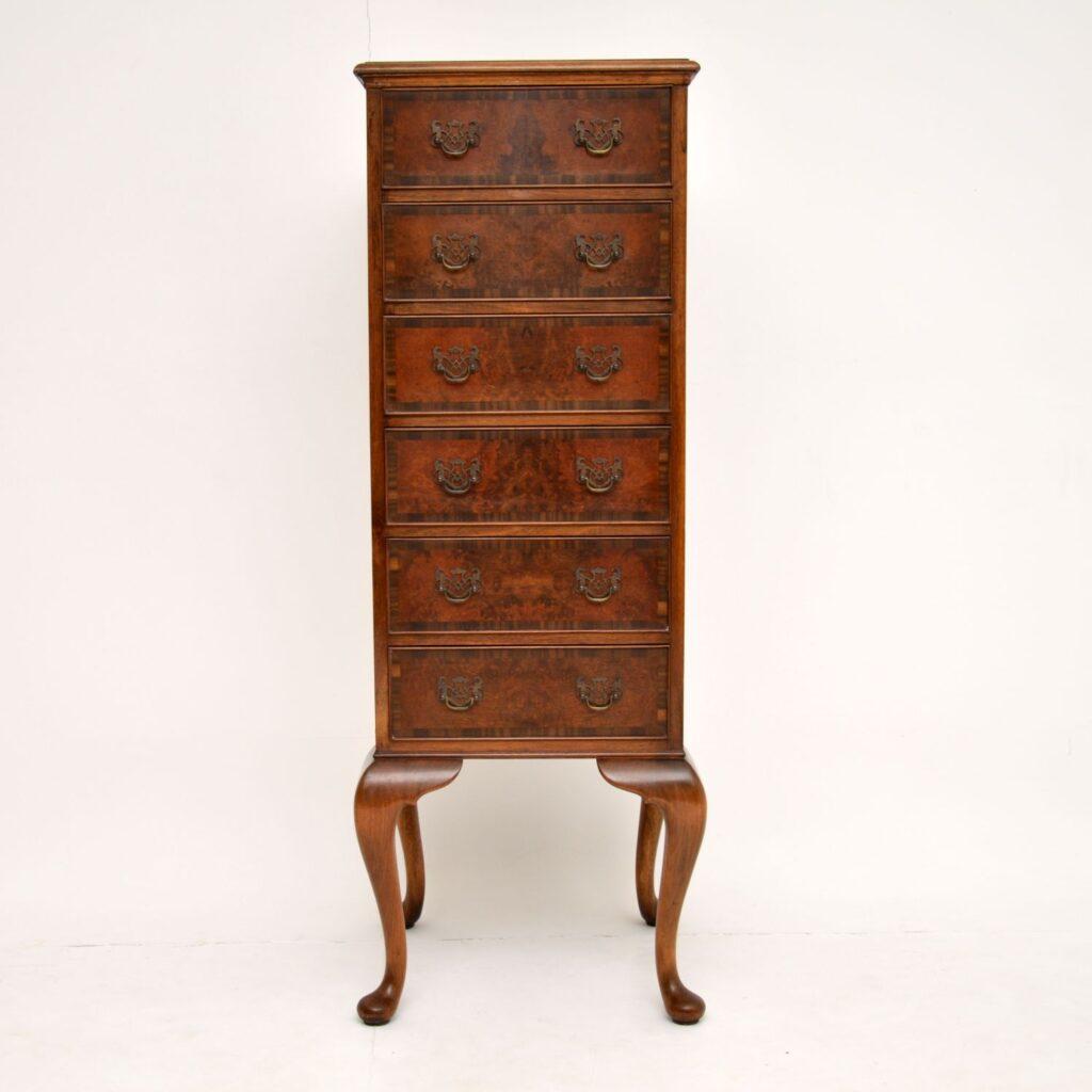 antique burr walnut tall boy chest of drawers