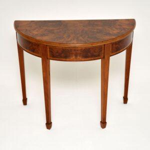 antique burr walnut demi lune console table