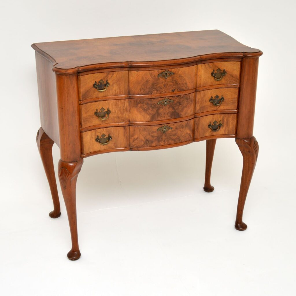 antique burr walnut serpentine chest on legs low boy