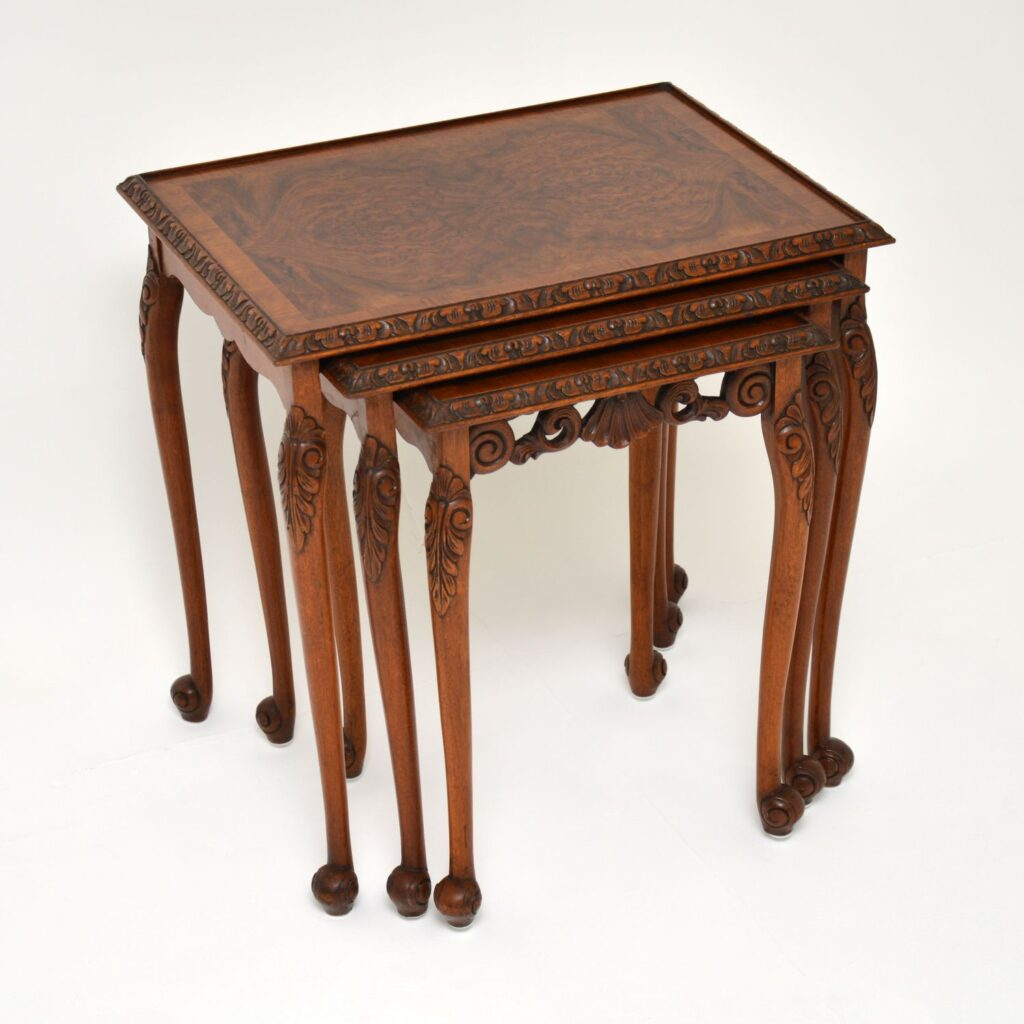 antique queen anne burr walnut nest of tables