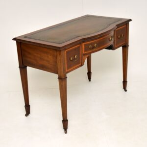 antique edwardian satin wood mahogany leather top desk writing table maple and co