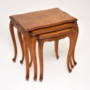 antique burr walnut french nest of three tables