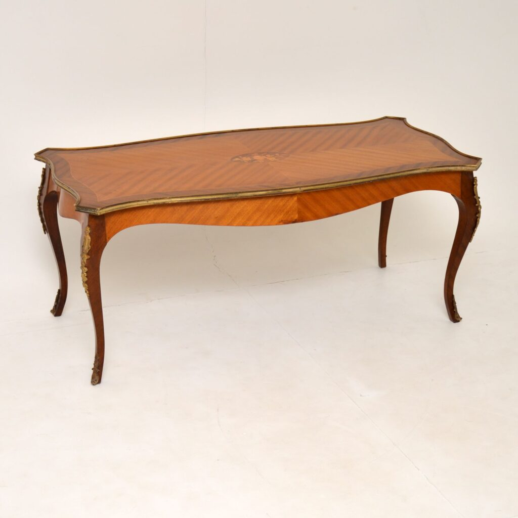 antique french inlaid marquetry satin wood coffee table