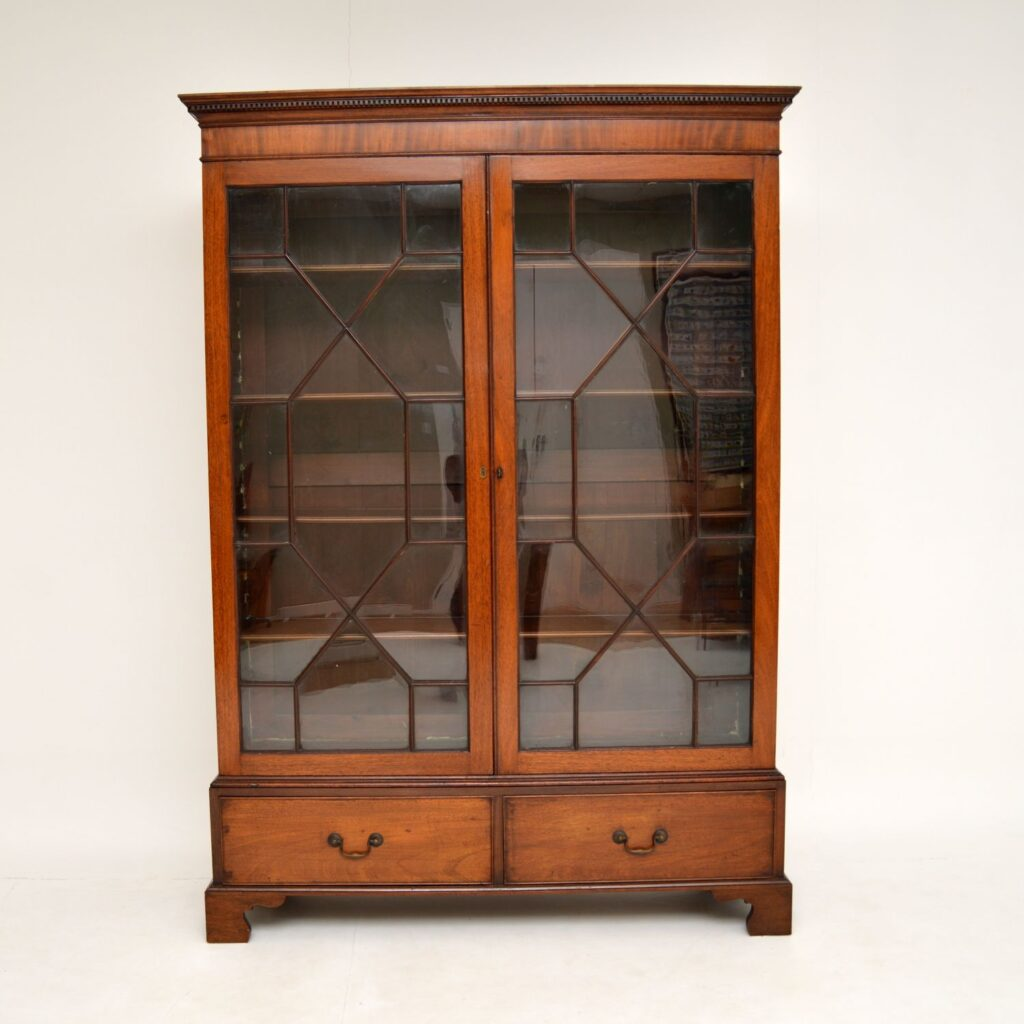 antique georgian george III mahogany astral glaze bookcase