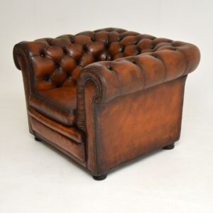 antique vintage victorian leather chesterfield armchair