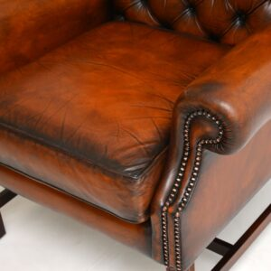 antique georgian victorian leather wing back armchair
