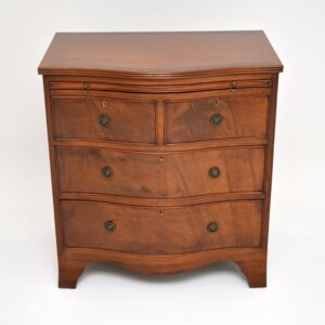 antique edwardian serpentine mahogany bachelors chest of drawers