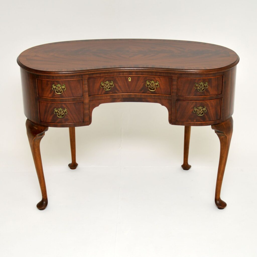 antique kidney shape mahogany desk