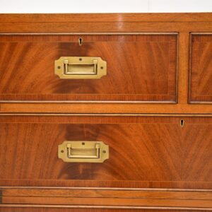 antique flame mahogany military campaign chest of drawers
