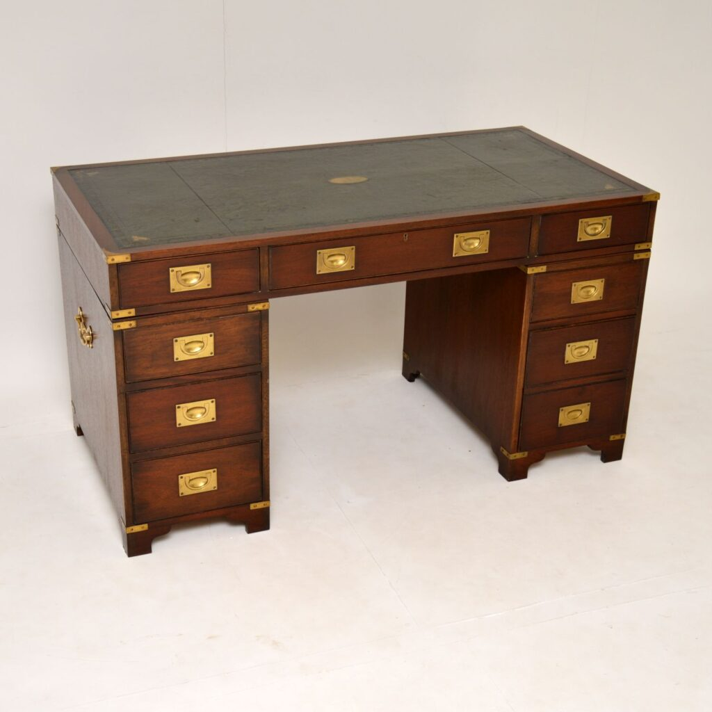 antique mahogany brass military campaign pedestal desk