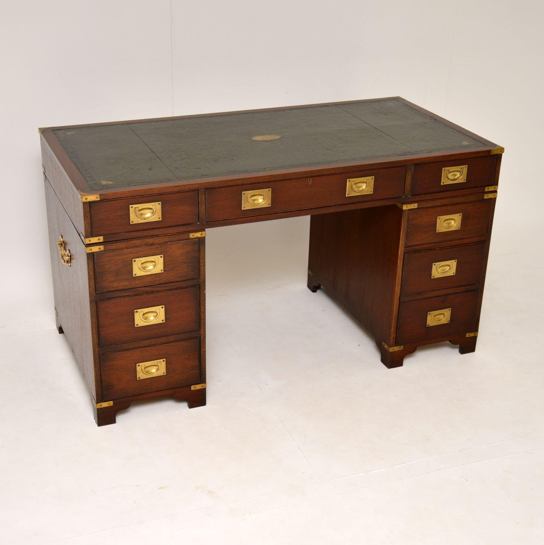 antique mahogany brass military campaign pedestal desk
