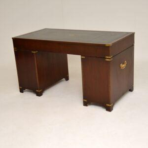 Antique Military Campaign Style Mahogany Desk
