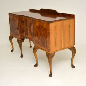 Antique Queen Anne Style Burr Walnut Sideboard