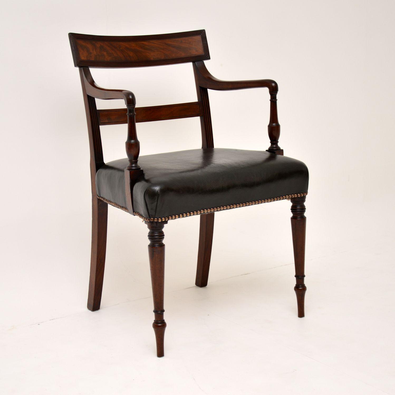 antique regency mahogany leather desk chair armchair carver chair