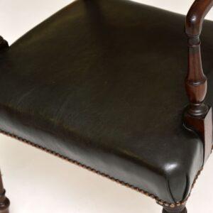 Antique Regency Mahogany & Leather Armchair / Desk Chair