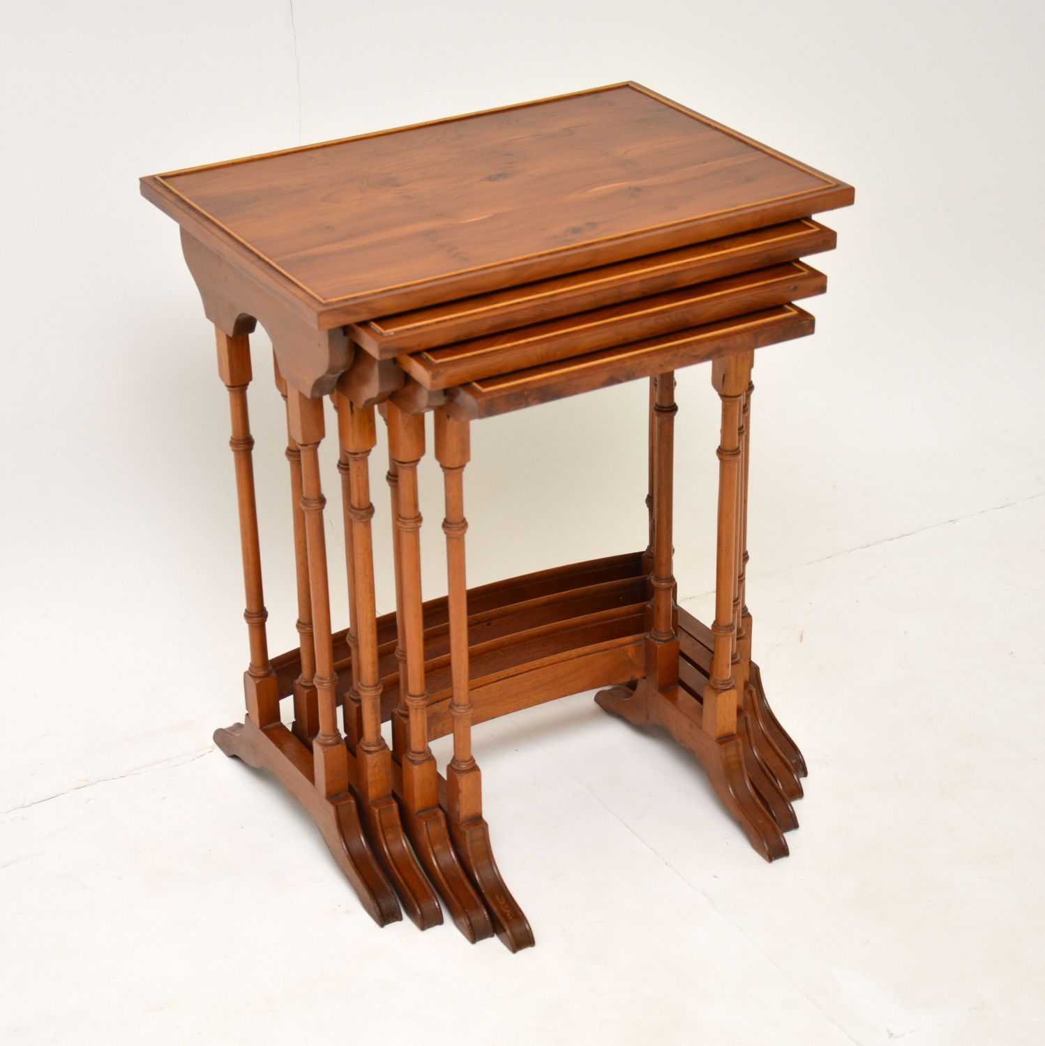 antique georgian yew wood nest of tables